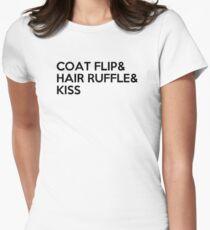 COAT FLIP & HAIR RUFFLE & KISS Womens Fitted T-Shirt