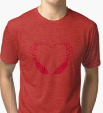Red feather heart with flying birds Tri-blend T-Shirt