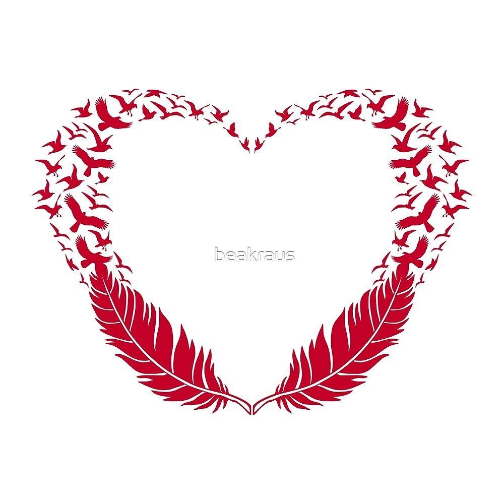 """""""Red feather heart with flying birds"""" by beakraus"""