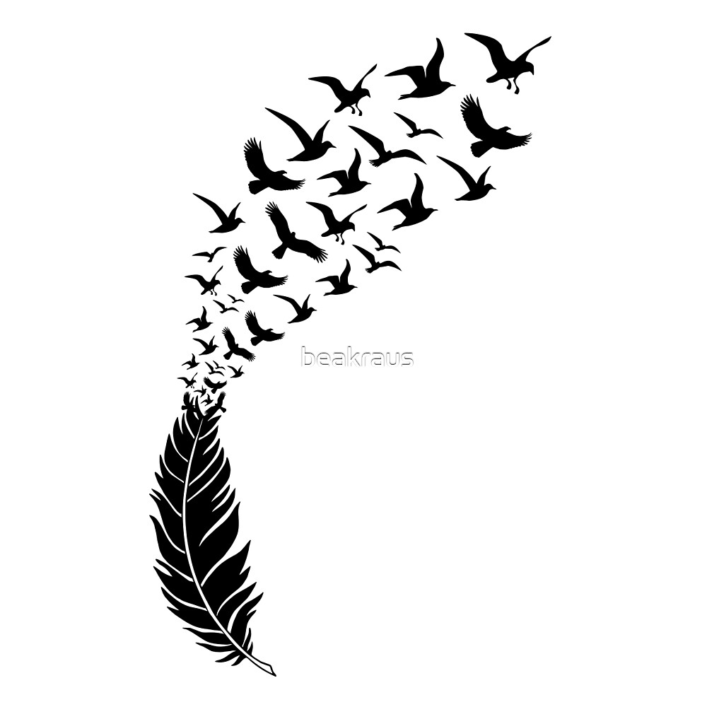 Quot Black Feather With Flying Birds Quot By Beakraus Redbubble