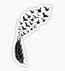 Black feather with flying birds Sticker