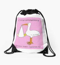 Congratulations on your baby naming day (for a girl). Drawstring Bag