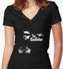 The QuadFather Women's Fitted V-Neck T-Shirt