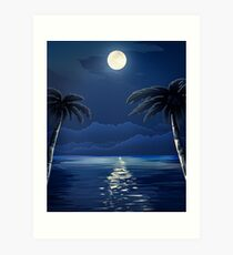Tropical Moon over Water Art Print