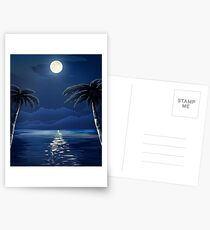 Tropical Moon over Water Postcards