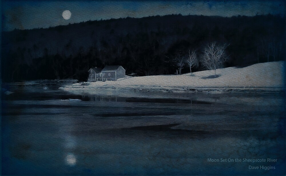 Moonset Sheepscot River by Dave  Higgins