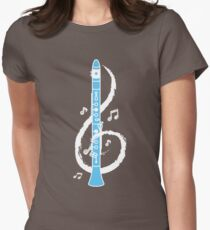 Musical Clarinet Treble Clef Women's Fitted T-Shirt