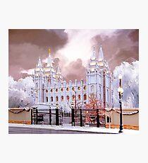 Salt Lake Temple Winter Gate Photographic Print