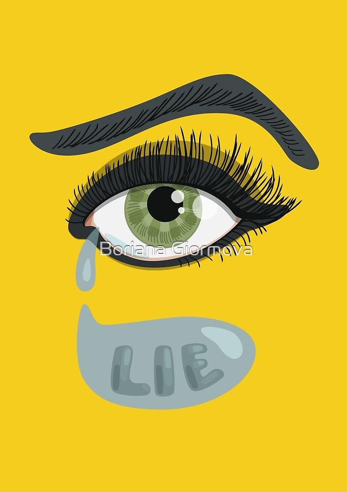 Green Lying Eye Crying In Tears by Boriana Giormova