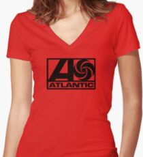 Atlantic Records Women's Fitted V-Neck T-Shirt