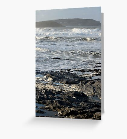 Stormy Sea, Newtrain Bay, Cornwall Greeting Card