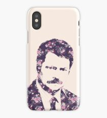 Ron Swanson in Florals iPhone Case