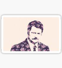 Ron Swanson in Florals Sticker