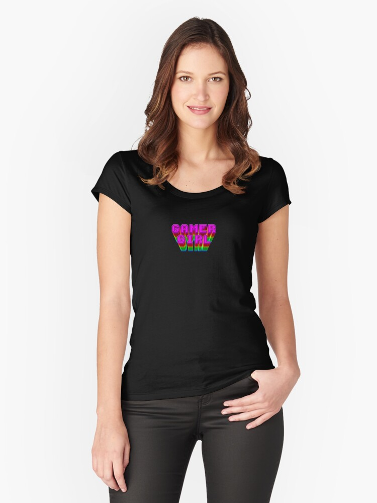 Gamer Girl Text Women's Fitted Scoop T-Shirt Front