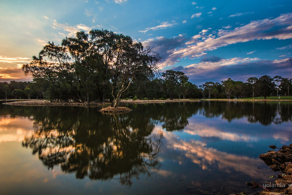 Sunset at the Lake by yolanda