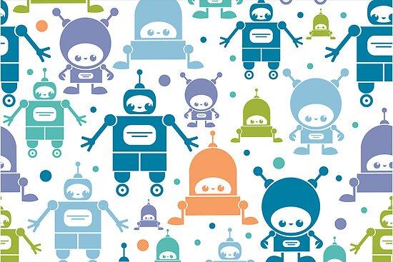 Colorful fun robots pattern by oksancia