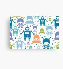 Colorful fun robots pattern Canvas Print