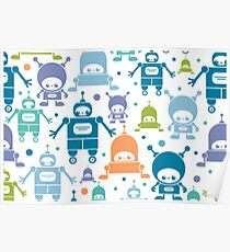 Colorful fun robots pattern Poster