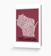 Wisconsin Typography Map Grußkarte