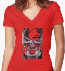 Alien Skull X-ray Women's Fitted V-Neck T-Shirt