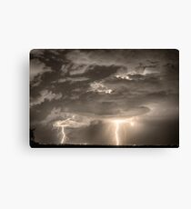 Double Lightning Strikes in Sepia HDR Canvas Print