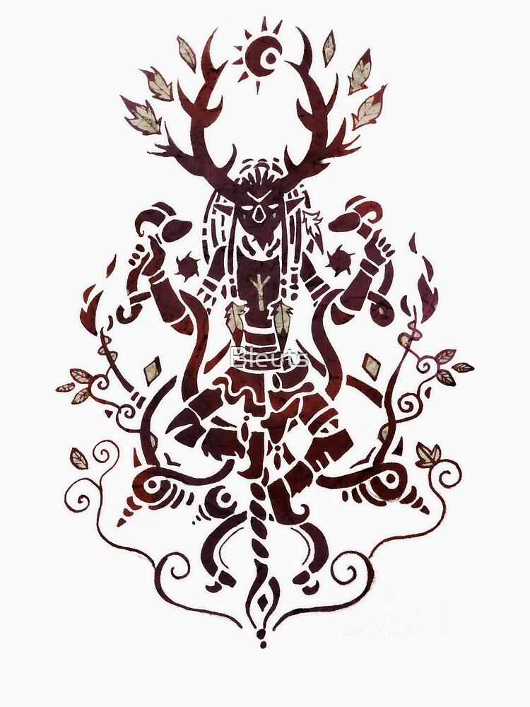 Cernunnos Pagan Gott mit Hörnern und Caducé Crossover Paganart von Bleuts