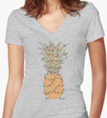 Tropical Lights Women's Fitted V-Neck T-Shirt