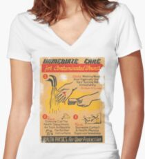 Radiation Warning poster 1950's Women's Fitted V-Neck T-Shirt