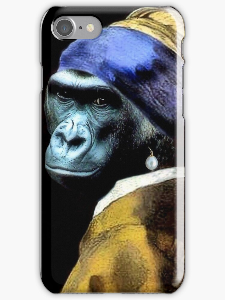 Gorilla With A Pearl Earring iPhone by SuddenJim