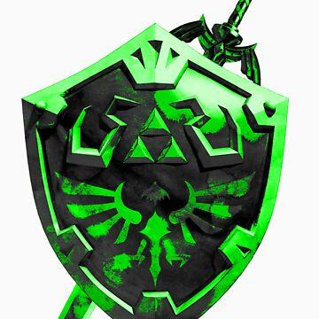 Zelda Sword and Shield Green n Black by D4RKFQX
