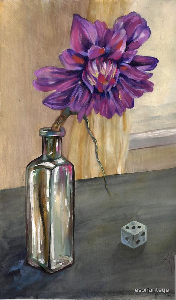 cold window, dahlia with dice by resonanteye