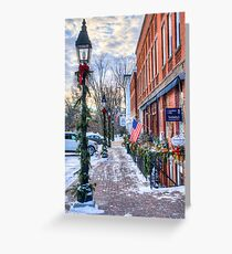 Litchfield Storefronts in Winter Greeting Card