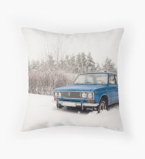 VAZ 2103 in winter Throw Pillow