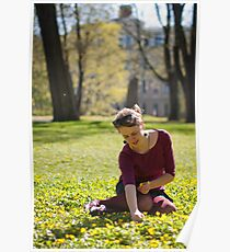 Girl picking flowers Poster