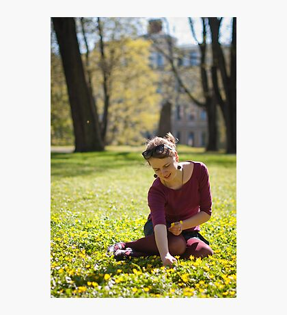 Girl picking flowers Photographic Print