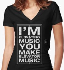 I'm Elevating Music, You Make Elevator Music (White) Women's Fitted V-Neck T-Shirt