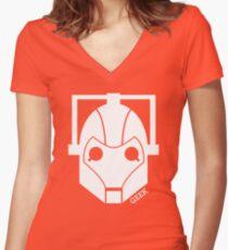 Geek Shirt #1 Cyberman (White) Women's Fitted V-Neck T-Shirt