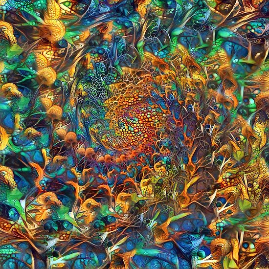 Abstract floral digital painting recursion
