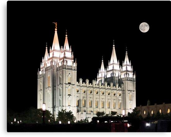 Salt Lake Temple by moonlight 20x24 by Ken Fortie