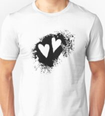 Two hearts on grunge stain, black Unisex T-Shirt