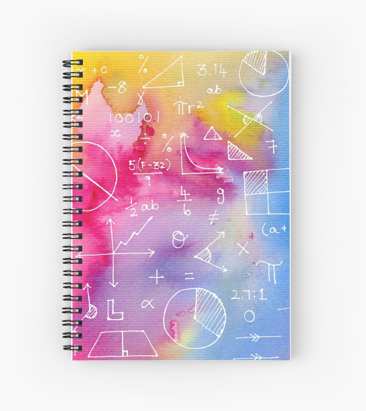 u0026quot math formulae  watercolor background  u0026quot  spiral notebook by