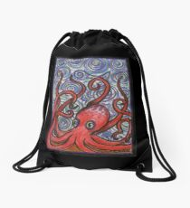 Octopus and Swirls Drawstring Bag