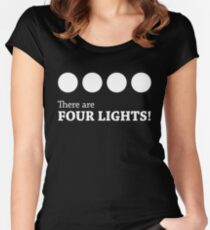 There are FOUR LIGHTS! (White Ink) Women's Fitted Scoop T-Shirt