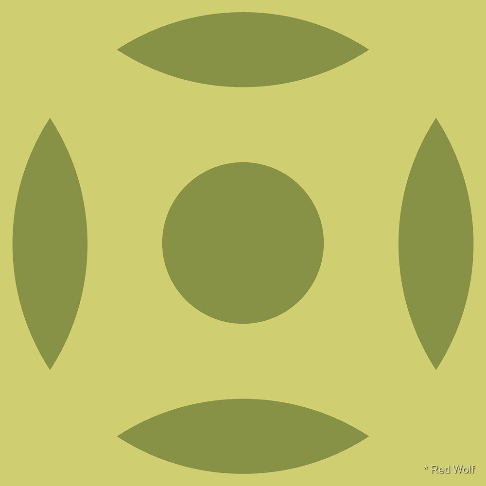 Geometric Pattern: Intersect Circle: Olive by * Red Wolf