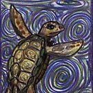 Loggerhead Turtle and Swirls by David Webb
