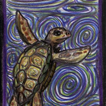 Loggerhead Turtle and Swirls by GraphiteWeb