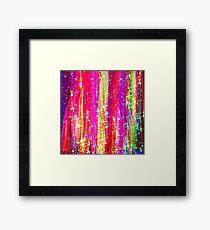 WATERFALLS Abstract Acrylic Pink Purple Ocean Waves Stars Fine Art Painting Framed Print