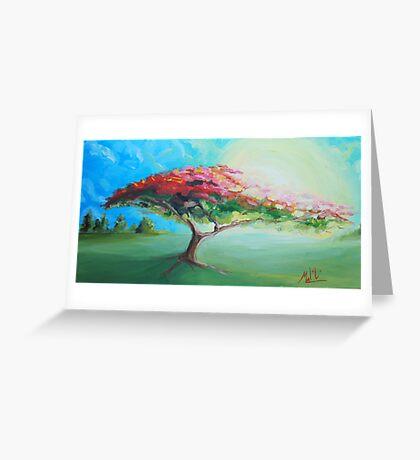 Poinciana Tree Painting Greeting Card