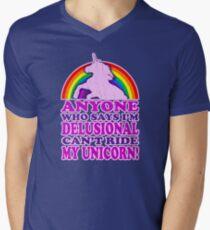 Funny Delusional Unicorn (Vintage Distressed Design) Men's V-Neck T-Shirt