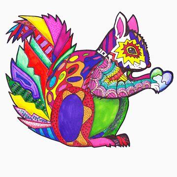 Colorblock Squirrel by fishcakefillet